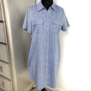Neiman Marcus 12 Blue Buttons Down Shirt Dress